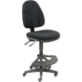 Work Stool - Fabric - 180° Footrest - Black