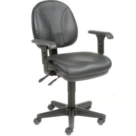 Multifunctional Task Chair with Arms - Leather - Black