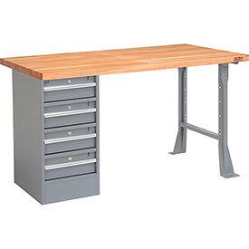 """72"""" W x 30"""" D Pedestal Workbench W/ 4 Drawers, Maple Butcher Block Square Edge - Gray"""