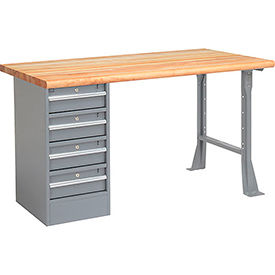 "60"" W x 30"" D Pedestal Workbench W/ 4 Drawers, Maple Butcher Block Safety Edge - Gray"