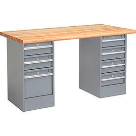 "60"" W x 30"" D Pedestal Workbench W/ 7 Drawers, Maple Butcher Block Safety Edge - Gray"