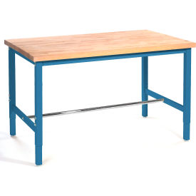 "72""W x 30"" D Packaging Workbench - Maple Butcher Block Safety Edge - Blue"