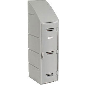 Box Plastic Locker for Double Tier - Sloped Top 12X15X47 Gray