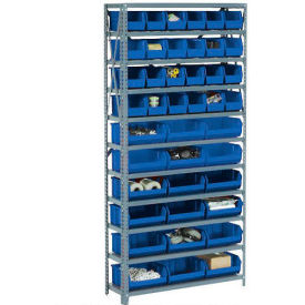 Steel Open Shelving with 60 Blue Plastic Stacking Bins 11 Shelves - 36x12x73