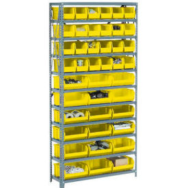 Steel Open Shelving with 15 Yellow Plastic Stacking Bins 6 Shelves - 36x12x39