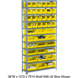 Steel Open Shelving with 42 Yellow Plastic Stacking Bins 11 Shelves - 36x12x73