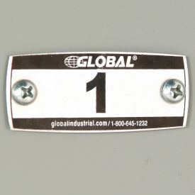 Global™ Locker Number Plate Kit - Pkg Of 100 Numbered 1-100 W/Rivet Gun
