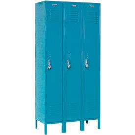 Paramount® Locker Single Tier 12x18x72 3 Door Assembled Blue
