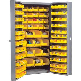 "Bin Cabinet Deep Door with 136 Yellow Bins, 16-Gauge Assembled Cabinet 38""W x 24""D x 72""H, Gray"