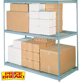 """Wide Span Rack 96""""W x 36""""D x 96""""H With 3 Shelves Wire Deck 800 Lb Capacity Per Level"""