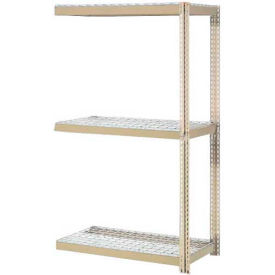 """Expandable Add-On Rack 36""""W x 12""""D x 84""""H Tan With 3 Levels Wire Deck 1500lb Cap Per Level"""