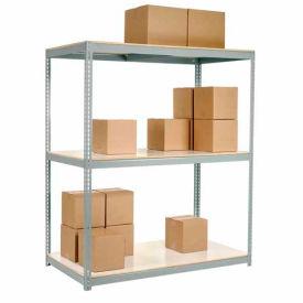 "Wide Span Rack 72""W x 24""D x 84""H Gray With 3 Shelves Laminated Deck 900 Lb Cap Per Level"