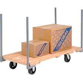 "Stake Handle Hardwood Deck Platform Truck 54 x 27 2000 Lb. Capacity 6"" Rubber Casters"