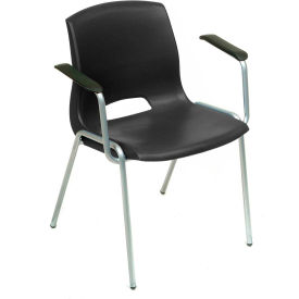 Interion® Stack Chairs With Arms - Plastic - Black - Merion Collection - Pkg Qty 4