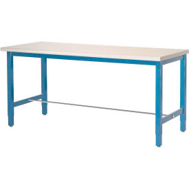 "72""W x 30""D Adjustable Height Workbench Square Tubular Leg - Plastic Laminate Square Edge - Blue"