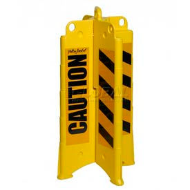 """Eagle Yellow Folding Barricade with Black """"Caution"""" Sheeting, 1820CAUTION"""