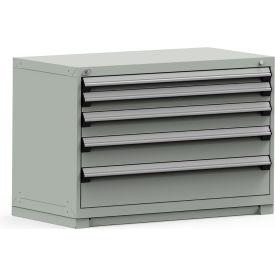 Rousseau Modular Storage Drawer Cabinet 48x24x32, 5 Drawers (5 Sizes) w/o Divider, w/Lock, Gray
