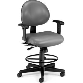 OFM 24 Hour Ergonomic Task Chair with Arms and Drafting Kit, Antimicrobial Vinyl, Mid Back, Charcoal
