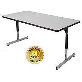 """Allied Plastics Computer and Activity Table - Adjustable Height - 72"""" x 30"""" - Gray"""
