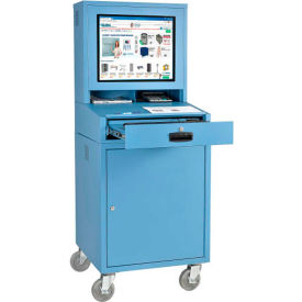 Global Industrial™ Mobile Security LCD Computer Cabinet Enclosure, Blue, Unassembled