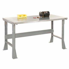 """60""""W X 30""""D X 34""""H Stainless Steel Square Edge Workbench - Gray"""
