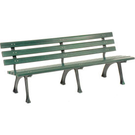 6' Plastic Park Bench With Backrest - Green