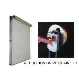 DBCI 9 x 8 White 2000 Series Roll-Up Dock Door with 4:1 Reduction Drive Chain Lift