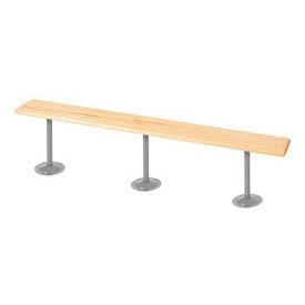 "Locker Bench Hardwood Top w/Steel Tube Pedestals, Bolt Down Style, 108""W x 9-1/2""D x 17""H"