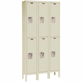 Hallowell U3228-2A-PT Premium Locker Double Tier 12x12x36 6 Door Assembled Parchment- Pkg Qty 1
