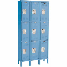 Hallowell U3228-3A-MB Premium Locker Triple Tier 12x12x24 9 Door Assembled Blue