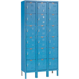 Hallowell U3258-6A-MB Premium Locker Six Tier 12x15x12 18 Door Assembled Blue- Pkg Qty 1