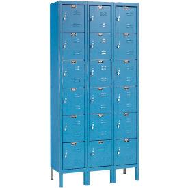 Hallowell U3288-6A-MB Premium Locker Six Tier 12x18x12 18 Door Assembled Blue- Pkg Qty 1