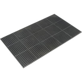 "Cushioned Comfort Drainage Matting 7/8"" Thick 3'W X 5'L Black Grease Resistant- Pkg Qty 1"