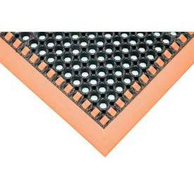 """SafetyTruTred™ Hi-Vis Drainage Mat W/Grit Top, 4-Sided Border, 7/8"""" Thk, 40""""x64"""", Black/Orange"""