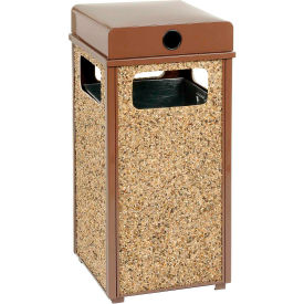 "Global Industrial™ Stone Panel Trash Weather Urn Brown 17-1/2"" Square X 36""H"