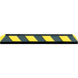 "72"" Rubber Parking Curb, Black with Yellow Stripes"