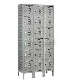 Hallowell U3288-6HV-A-HG Heavy-Duty Ventilated Locker Six Tier 12x18x1218 Door Assembled - Dark Gray
