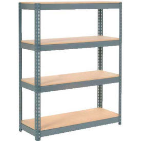 "Extra Heavy Duty Shelving 48""W x 18""D x 72""H With 4 Shelves - Wood Deck - Gray"
