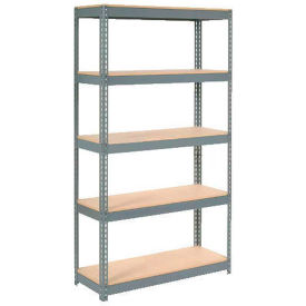 "Extra Heavy Duty Shelving 48""W x 24""D x 72""H With 5 Shelves - Wood Deck - Gray"