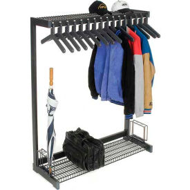 "48""W Floor Rack With 16 Hangers - Black"