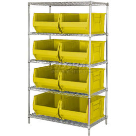 "Quantum WR5-955 Chrome Wire Shelving With 8 24""D Bins Yellow, 42x24x74- Pkg Qty 1"