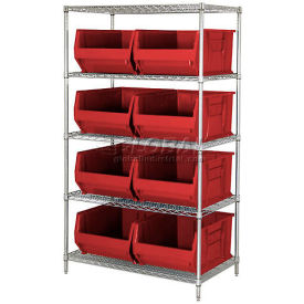 """Quantum WR5-955 Chrome Wire Shelving With 8 24""""D Bins Red, 42x24x74"""