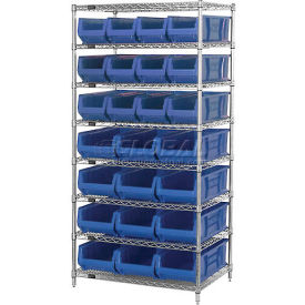 "Quantum WR7-20-MIXBL Chrome Wire Shelving With 20 24""D Bins Blue, 36x24x74"