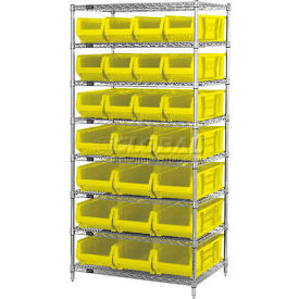 """Quantum WR8-950952 Chrome Wire Shelving With 24 24""""D Bins Yellow, 36x24x74"""