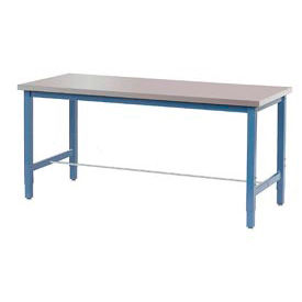 """72""""W x 30""""D Production Workbench - Stainless Steel Square Edge - Blue"""