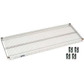"""Nexel S2448EP Silver Epoxy Wire Shelf 48""""W x 24""""D with Clips"""
