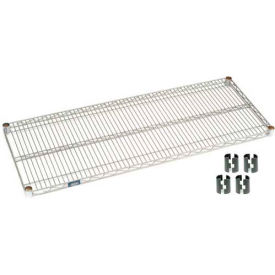 "Nexel S2472EP Silver Epoxy Wire Shelf 72""W x 24""D with Clips"