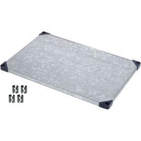 """Nexel S1872SZ Solid Galvanized Shelf 72""""W x 18""""D with Clips"""