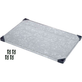 """Nexel S2448SZ Solid Galvanized Shelf 48""""W x 24""""D with Clips"""