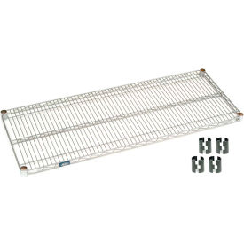 "Nexel S1854S Stainless Steel Wire Shelf 54""W x 18""D with Clips"